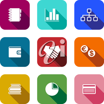 Set of colorful flat business icons on square web buttons