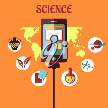 Science infographic with a central tablet showing a search icon over a global map surrounded by circular icons depicting history, biology, books, chemistry, physics and the planets
