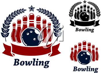 bowling emblems with ball, stars, ninepins and laurel wreath. Black and red isolated over white colored background . suitable for sport and recreation  design