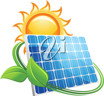 Solar panel icon with a golden hot sun above a photovoltaic panel encircled with fresh green leaves conceptual of renewable energy from natural resources,vector illustration on white