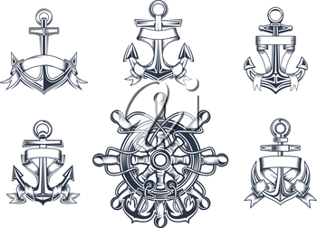 Vintage marine and nautical icons with ships anchors with blank entwined ribbon banners and a ships wheel with anchors