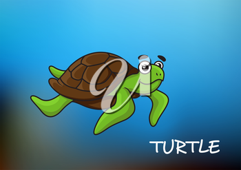 Swimming sea turtle cartoon character on blue background with text Turtle