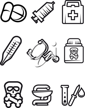 Outline vector medical icons in black and white with tablets, syringe, first aid kit, thermometer, stethoscope, poison, caduceus and test tube