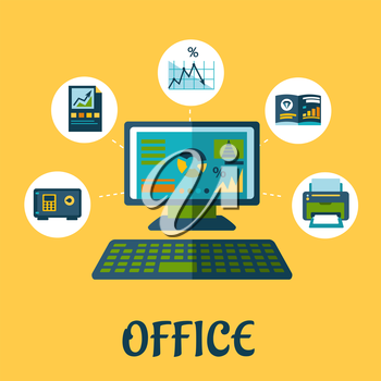 Business and office concept design with flat icons pf printer, report,  chart, graph, folder, laptop and safe box