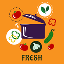 Fresh healthy food cooking flat concept depicting pan with pictograms of whole tomatoes, garlic, cucumber, yellow and green bell pepper slices and spicy herbs on orange background with caption Fresh