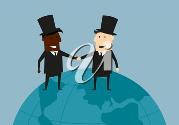 Cheerful black and caucasian cartoon businessmen standing on blue earth globe shaking hands and smiling each other suited for international business cooperation or partnership concept design