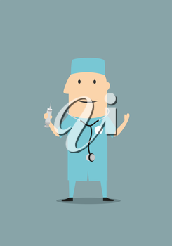 Funny cartoon doctor or physician in blue medical scrubs and a stethoscope while standing up and holding a syringe