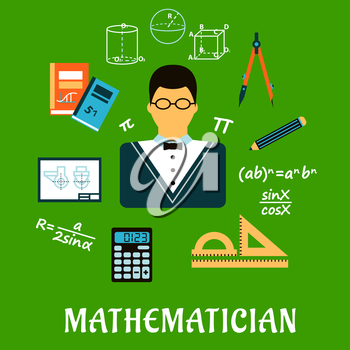 Mathematician profession concept with teacher in glasses encircled by formulas, calculator, rulers, compasses, pencil, textbooks, drawing and geometric figures