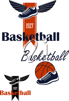 Basketball team emblem design with winged sneakers on ribbon with forked edge and date foundation, another variant with basketball shoes and ball. Isolated on white background