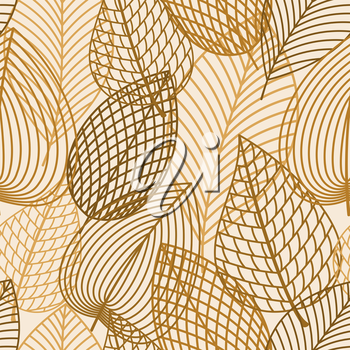 Autumnal seamless pattern with outline brown and orange leaves on white background