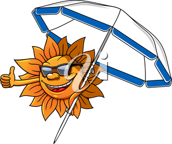 Cheerful sun cartoon character in sunglasses under the beach umbrella, giving thumb up sign, for travel or summer holiday themes