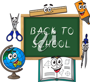 Blackboard with chalk text Back to school and funny cartoon globe, textbook, ruler, scissors, highlighter and compasses characters for education design