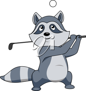 Cartoon little grey raccoon playing golf swinging the club over its shoulder