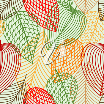Outline autumnal leaves seamless pattern with red, green, orange and brown leaves for nature or wallpaper themes