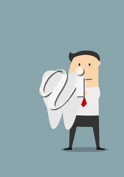 Businessman holding a large white tooth in front of him, for healthcare or dentistry theme, colored cartoon image