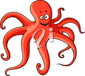 Atlantic ocean red octopus cartoon animal with long tentacles and cheerful smile. Marine adventure or wildlife design