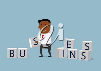 Enthusiastic businessman composing word Business from pile of alphabet block cubes. Concept of building your business