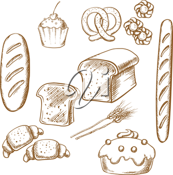 Bakery sketch icons set isolated on background for cafe, restaurant or pastry menu design