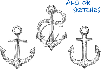 Nautical anchors in sketch style of famous fisherman anchors with short central shanks, rings, rope, curved arms with pointed flukes. Great for heraldic marine emblem, travel or vacation design
