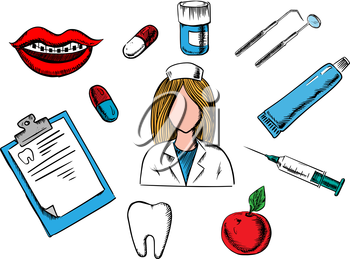 Dental concept design with a nurse surrounded by an apple, examination chart, tablets, mouth with braces, tooth, instruments and toothpaste. Vector medical and healthcare concept