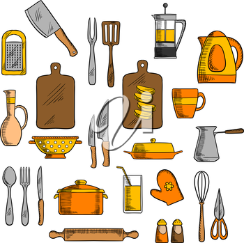 Kitchenware pot and electric kettle, coffee and tea pots, cutting board and knives, forks, cup and glass, spoon and rolling pin, spatula and grater, whisk and jug, salt and pepper shakers, oven glove