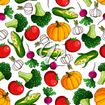 Fresh tomato and pumpkin, broccoli and corn, radish and garlic vegetables seamless pattern background for agriculture, recipe book or vegetarian food design