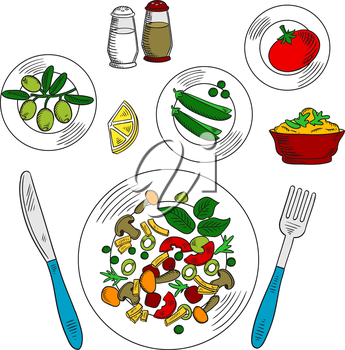 Vegetarian salad with ingredients colorful sketch of plate with sliced tomatoes, fresh green olives and sweet peas vegetables, sour sauce with lemon, mustard and spicy herbs, served with fork and knif