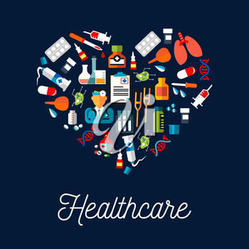 Healthcare equipment icons shaped as heart. Doctor or medic with stethoscope, dropper or pipette dropping blood, DNA and crutch or spike, tablet or pill, salve and enema or clyster.