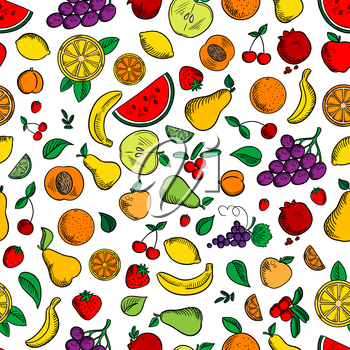 Fruits and berries seamless background. Wallpaper with vector pattern icons of apple, strawberry, orange, grape, lemon, banana, pomegranate, apricot, pear watermelon cherries cranberries