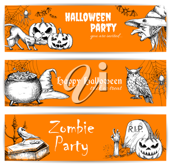 Halloween celebration orange banners with text and sketched pumpkins, old witch hat, coffin on graveyard, night owl, zombie hand. Templates for greeting and invitation cards for celebration