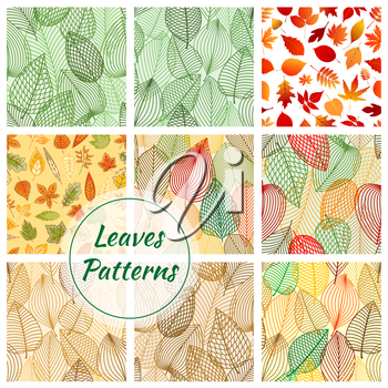 Leaves seamless patterns. Set of vector pattern with leaf icons of oak, rowan, elm, maple. Stylized line grid of plant leaf for decorative background