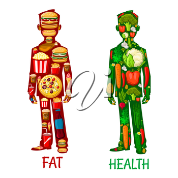 Fat and Health. Human nutrition icons. Healthy vegetarian and unhealthy fast food eating with elements of vegetables, cauliflower, pepper, carrot, radish, potato, cucumber, hamburger, sandwich, french