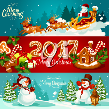 Christmas holiday banner set with gift box and gingerbread house with holly berry and candy cane, Santa Claus in sleigh with deer, ginger cookie man and number 2017, snowman with gift bag and lantern