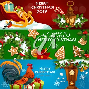 Festive Christmas and New Year banner set. Gift box, xmas tree wreath with holly berry, candy cane and bell, gingerbread cookie, lantern, rooster, poinsettia flower and clock. Winter holidays design