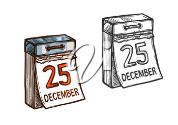 Christmas 25 December date. Wall calendar with torn sheets on christmas day. Isolated vector sketch icon