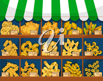 Pasta or italian macaroni food stall or counter. Tricolore and quadretti, bucatini and torti, konkiloni, and farfalle, kanelone or cannelloni, cavatappi and stelle, rotini and penne, fusilli and rigat