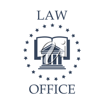 Juridical or law icon for advocate or lawyer office. Vector emblem of advocacy or legal company. Badge with symbol of roman atrium, code book or lawbook and stars wreath for attorney or notray barrist