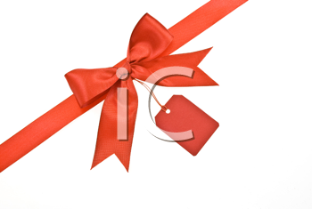 Royalty Free Photo of a Red Bow With Label