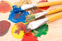 Royalty Free Photo of an Artist's Palette With Brushes