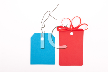 Red and blue gift tags