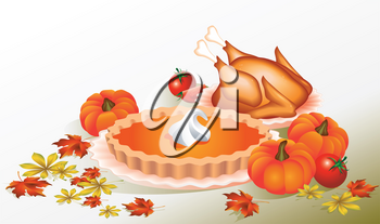 Thanksgiving Day. Design for the decoration. Delicious lunch, dinner