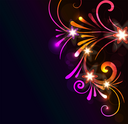 Royalty Free Clipart Image of a Background With Bright Flourishes