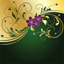 Royalty Free Clipart Image of a Floral Background in Green and Gold