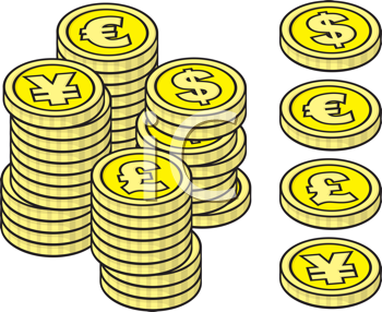 Royalty Free Clipart Image of Stacks of Coins in Different Currencies