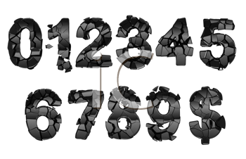 Royalty Free Clipart Image of Broken Numeral Fonts