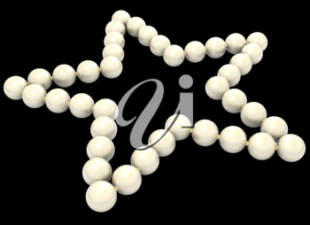 Pearls star shape isolated on black background