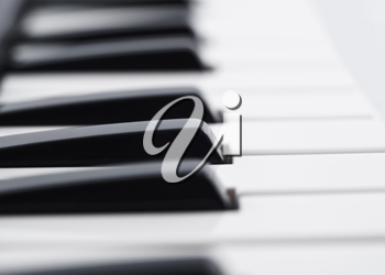 Closeup of piano keyboard (DOF)