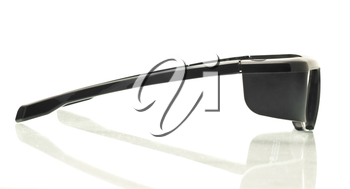 Stereo 3d Tv Side View Active Shutter Glasses Over White Background