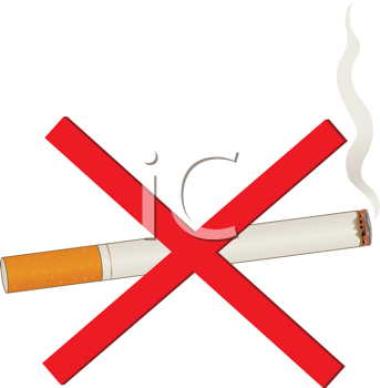 Royalty Free Clipart Image of a Cigarette With an X