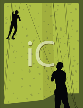 Royalty Free Clipart Image of Rock Climbers in Silhouette